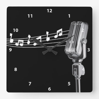 Cool Retro Microphone & Musical Notes Clock
