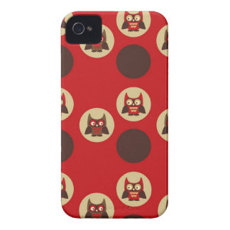 Cool retro owl & circles red and brown owls print Case-Mate iPhone 4 cases