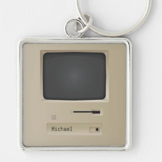 Cool Retro PC Computer Silver-Colored Square Keychain