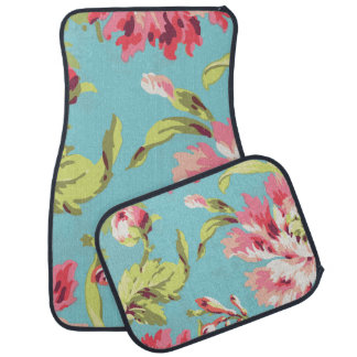 Cool Retro Pink and Blue Floral Car Mat