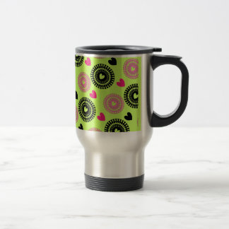 Cool Retro Style Hearts and Flowers Pattern Travel Mug