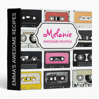 Cool retro vintage cassettes mix tapes pattern binder
