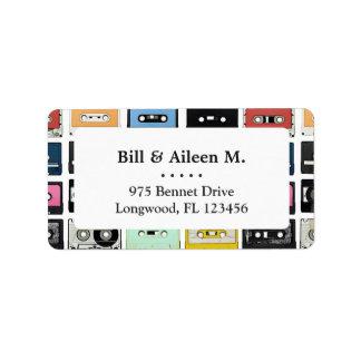 Cool retro vintage cassettes mix tapes pattern label