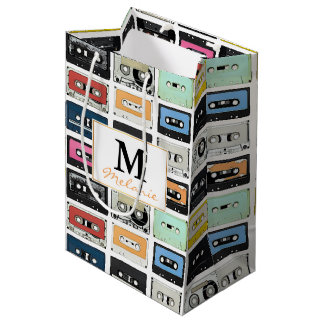 Cool retro vintage cassettes mix tapes pattern medium gift bag