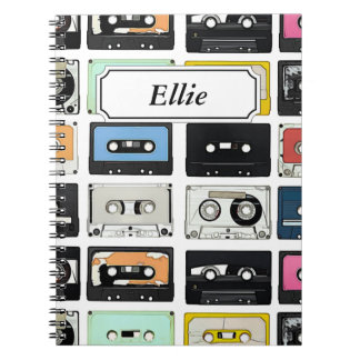 Cool retro vintage cassettes mix tapes pattern note books