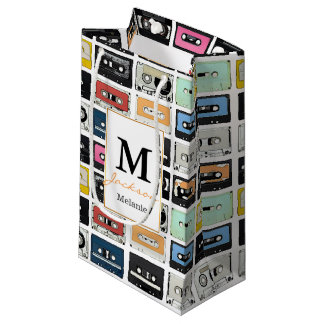 Cool retro vintage cassettes mix tapes pattern small gift bag