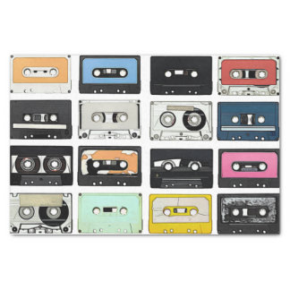 Cool retro vintage cassettes mix tapes pattern tissue paper