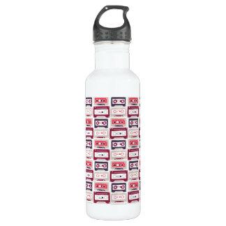 Cool retro vintage cassettes vector pattern 710 ml water bottle