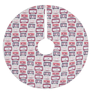 Cool retro vintage cassettes vector pattern brushed polyester tree skirt