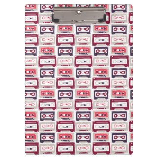 Cool retro vintage cassettes vector pattern clipboard