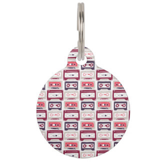 Cool retro vintage cassettes vector pattern pet ID tag