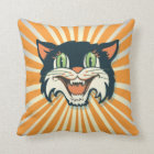 Cool Retro Vintage Halloween Cat Pillow