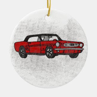 Cool Retro Vintage Red Convertible Pony Car Ceramic Ornament