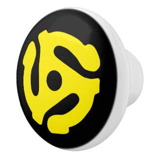 COOL Retro Vintage Yellow 45 spacer DJ Ceramic Knob