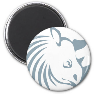 Cool Rhinoceros Swish Logo Icon Style 2 Inch Round Magnet
