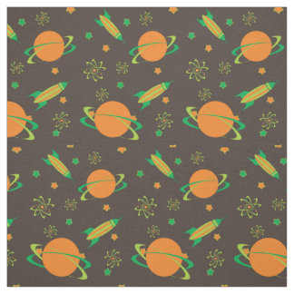 Cool Rocket and Planets Fabric