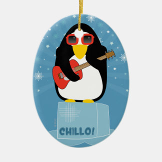 Cool Rockin' Penguin Says Chillo at Christmas Ceramic Ornament