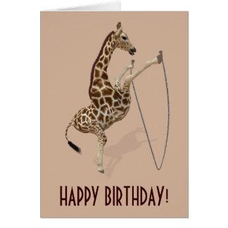 Cool Rope Jumping Giraffe Card