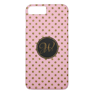 Cool Rose Gold Glitter Polka Dots Monogrammed Case-Mate iPhone Case