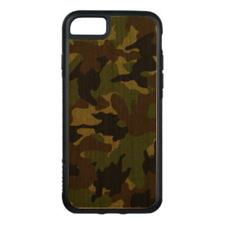 Cool Rough Dark Green Camo Pattern Military Wood Carved iPhone 8/7 Case