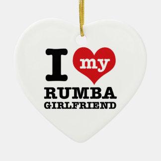Cool Rumba designs Ceramic Heart Ornament