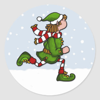 cool runnings elf classic round sticker