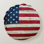 Cool Rustic American Flag Round Pillow