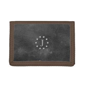 Cool Rustic Black Leather Look Monogrammed Wallet