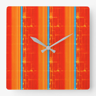 Cool Rustic Blue Orange Yellow Red Stripes Square Wall Clock