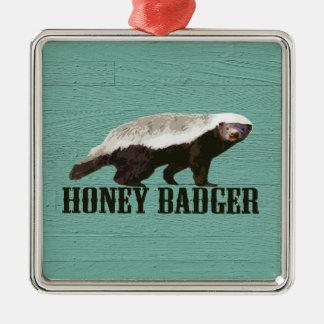 Cool Rustic Honey Badger Metal Ornament