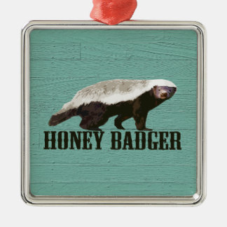 Cool Rustic Honey Badger Silver-Colored Square Ornament