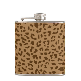 Cool safari cheetah skin print pattern brown hip flask