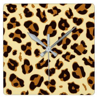 Cool safari leopard skin print pattern brown square wall clock