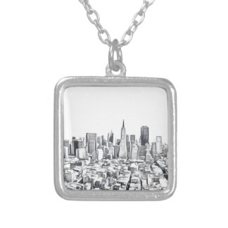 Cool San Francisco SF Citiscape Silver Plated Necklace