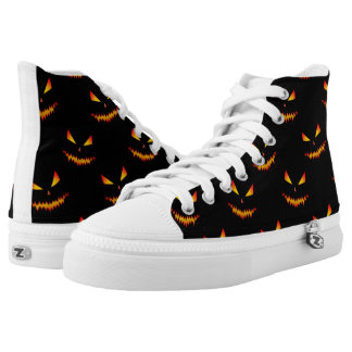 Cool scary Jack O'Lantern face Halloween pattern High Tops