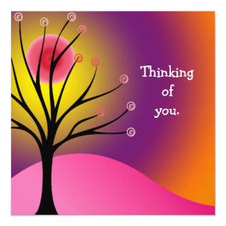 "Cool Scene/Tree Silhouette Flat Greeting Card 5.25"" Square Invitation Card"