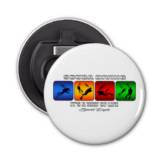 Cool Scuba Diving It Is A Way Of Life Button Bottle Opener