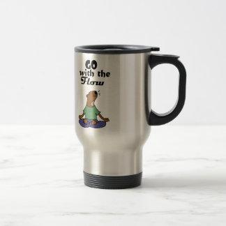 Cool Sea Otter Yoga Cartoon says Go with the Flow Travel Mug