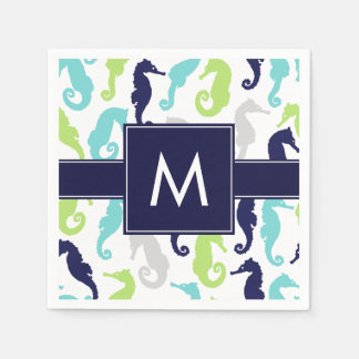 Cool Seahorses Monogrammed Disposable Napkins