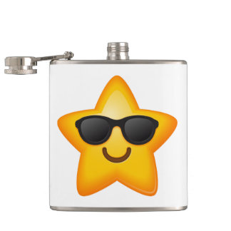 Cool Shades Emoji Star Hip Flask