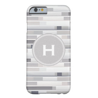 Cool shades of grey stripes Custom Monogram Barely There iPhone 6 Case