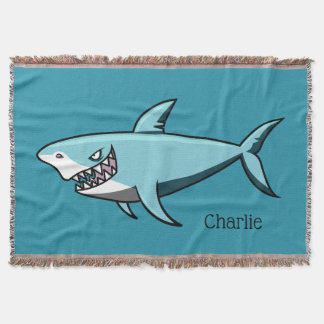 Cool Shark custom name throw blankets