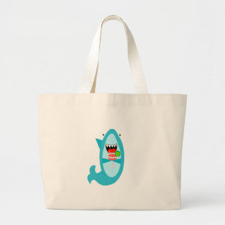 Cool Shark Drinking a Margarita Large Tote Bag