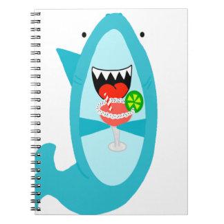 Cool Shark Drinking a Margarita Notebook