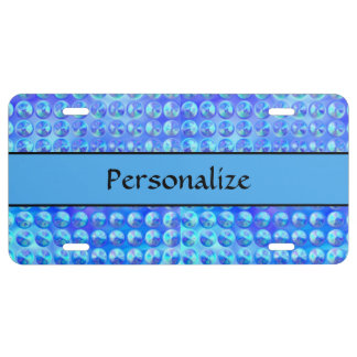 Cool Shiny Glass Blue Buttons License Plate