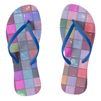 Cool Shiny Tiles Pattern Flip Flops