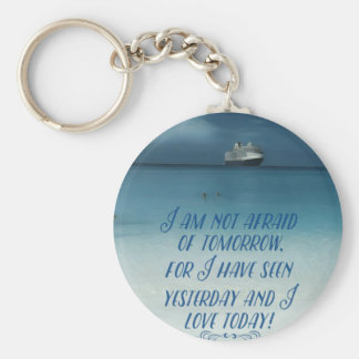 Cool Ship On Ocean Positive Quote Basic Round Button Keychain
