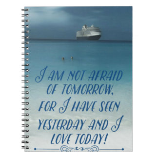 Cool Ship On Ocean Positive Quote Notebook