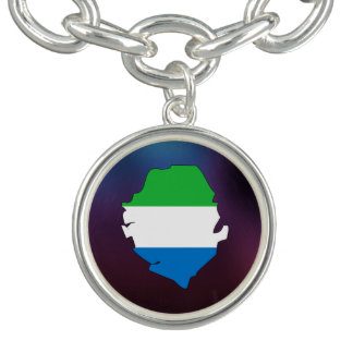 Cool sierra leone Flag Map Charm Bracelet