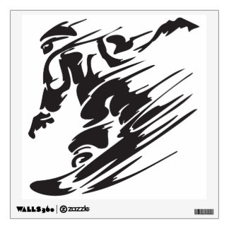 Cool Silhouette Snowboarding Mountain Wall Decal